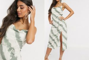 ASOS 4th + Reckless Tall Exclusive Kick Cowl Front Midi Dress in Tie Dye Print